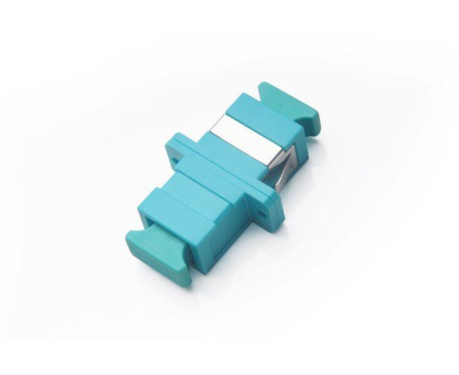 SC_PC-SC_PC MM Simplex OM3 Adapter Aqua